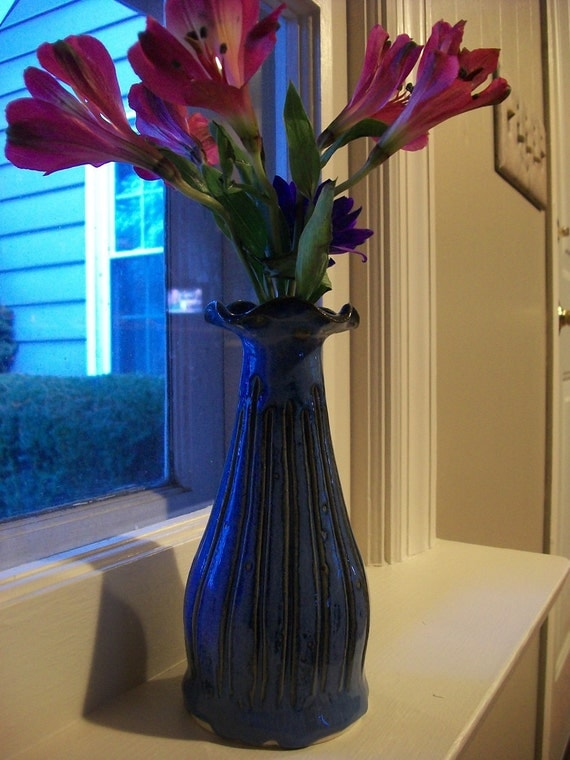 Stunning Cobalt Blue pottery bud vase with water vial