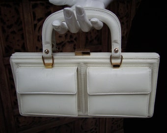 60s Bone Leather Oblong Handbag