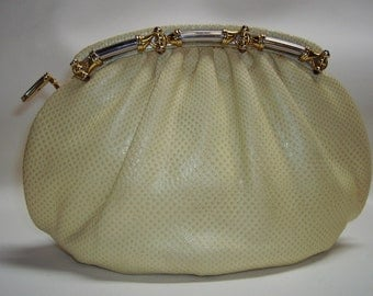 JUDITH LEIBER Karung Snakeskin Clutch/Shoulder-bag w/Tiger-eye cabochons