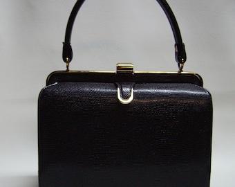 MILCH Black Lizard Embossed Leather Purse Handbag