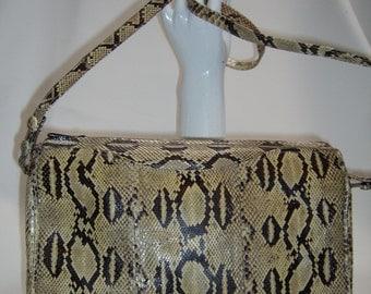 Vintage LEE SANDS Python Clutch/Shoulderbag