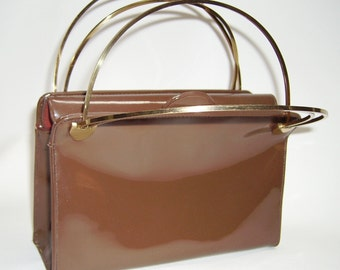 BLOCH Brown Patent Bag with Brass Handles