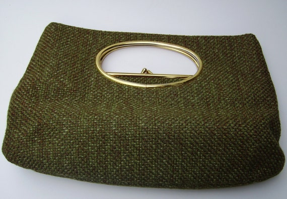 Architectural style Clutch Handbag with Cutout handles 60s MOD Bag SOLD on Layaway to Barbara.