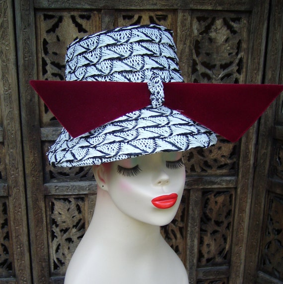 50s LAZARUS Charcoal and White Hat  Reserved for Jenny