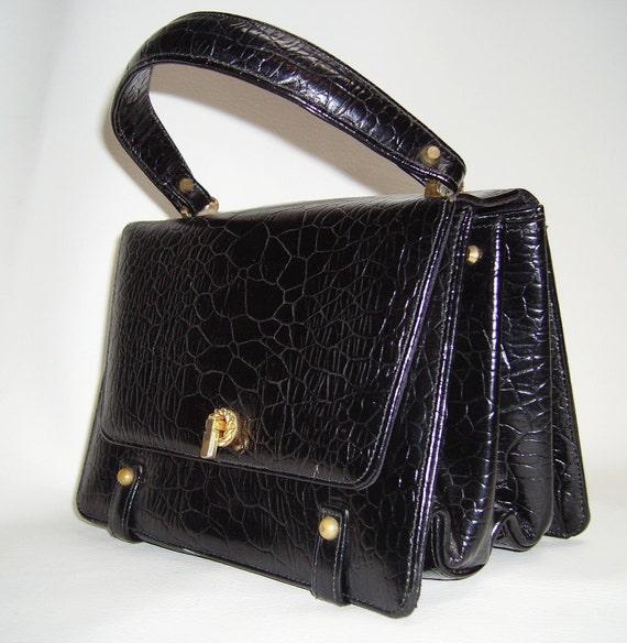 60s Caprice Black Turtle Embossed Leather Handbag By