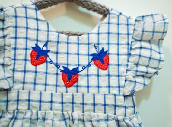 vintage strawberry seersucker pinafore girls dress, 3T
