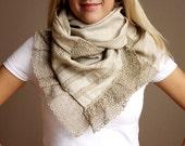 Linen grey scarf  French vintage lace /hmet /eco friendly /rusteam / team madcap/