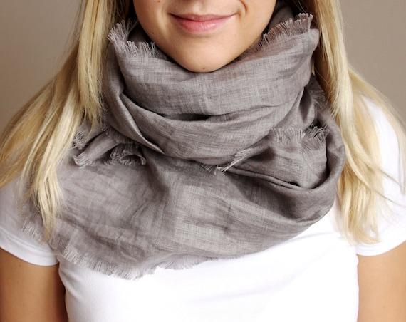 Summer linen scarf light grey spring gift idea /hmet /eco friendly /rusteam / team madcap/etsy lush