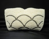 Vintage Glass Pearl and Bugle Bead Clutch