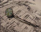 Blue Green Teal Splash Design Silver Bobby Hair Pin inoliviascloset