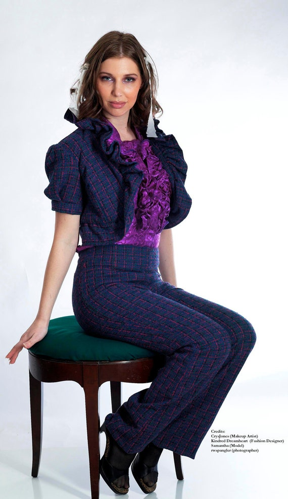 2-piece Purple Wool Tweed Suit Limited Edition Handmade