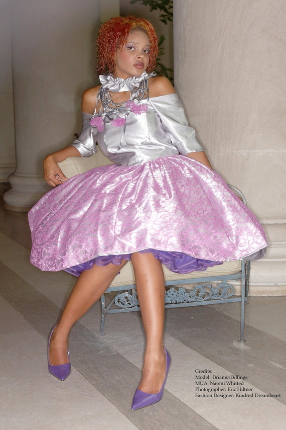 Grey Silver Satin Off shoulder Fuchsia Pink Lace Overlay Full Skirted Gown Limited Edition Handmade