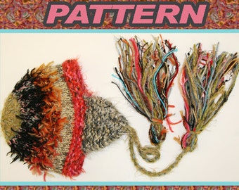PDF KNITTING PATTERN/  ear flap hat with tassels made with novelty yarn