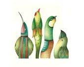 Green birds-Original watercolor painting-Wall decor, painting