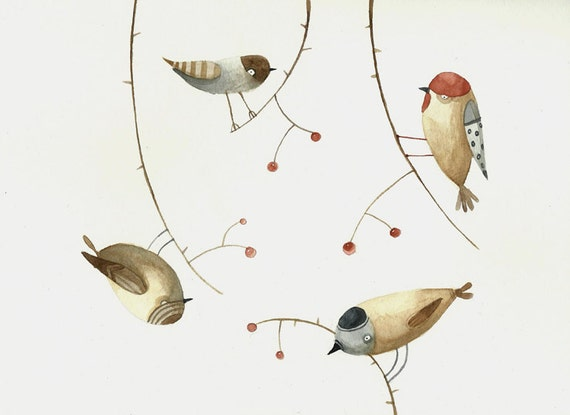 Birds and cherry-Original watercolor painting-kid nursery wall decor