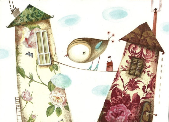 Bird and houses, original watercolor painting, original collage-bird painting- free shipping