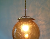 Amber Light Hanging Pendant, Crackled Glass with Brass Holder and Gold Cloth Wire