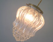 Glass Light Hanging Pendant - antique brass and cloth wire