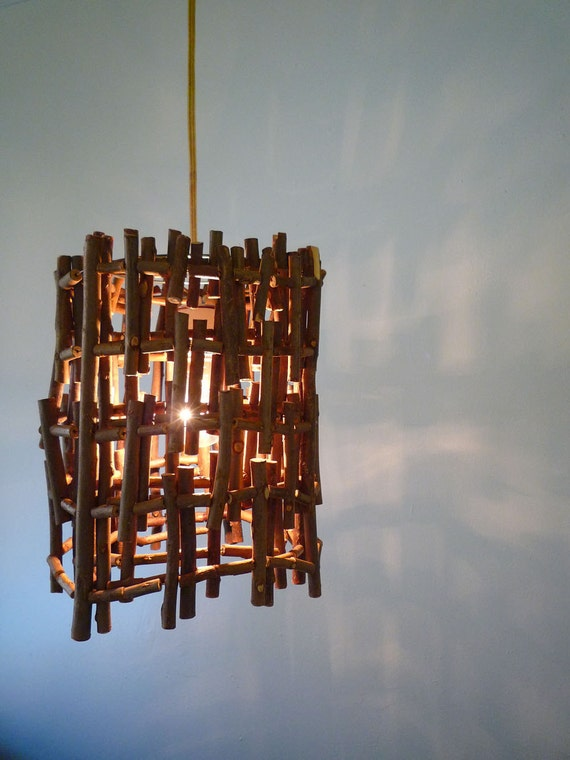 Twig Lamp items similar to hanging twig lamp - handmade light from twigs and