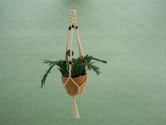 miniature macrame plant hanger 1 inch scale