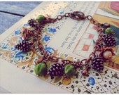 Forest Floor II, Copper Charm Bracelet // Woodland Berries Pinecones