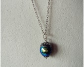 Northern Lights // Acorn Pendant Necklace in Silver, Blue Black Aurora Borealis