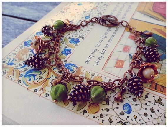 Forest Floor II, Copper Charm Bracelet // Woodland Berries Pinecones