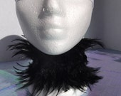 Black Feather Collar Necklace