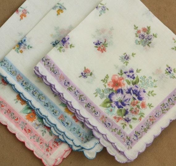 Handkerchiefs Floral Vintage 70s