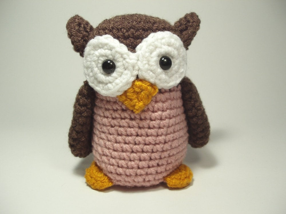 Crocheted Owl Stuffed Animal Toy Brown And Pink By