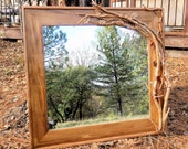Wood mirror log home or cabin rustic heated
