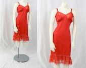 1950s Vintage Lingerie Slip...HOW COULD YOU Valentines Red Full Nylon Slip with Accordion Pleats Size Medium