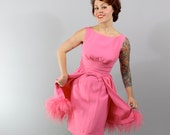 1960s Vintage Dress...NIGHT FOR LOVE Valentines Pink Cocktail Dress with Marabou Peplums and Bow Detail Size Small