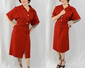1940s Vintage Dress...BETTER WATCH OUT Bright Red Gabardine Shirt Dress Pockets and Oversized Silver Buttons Matching Belt Plus Size