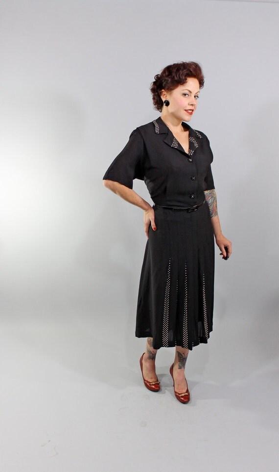 1940s Vintage Dress...ALL OVER AGAIN Spring Fashion Black Rayon Shirtwaist Dress with Polkadot Gored Skirt Plus Size