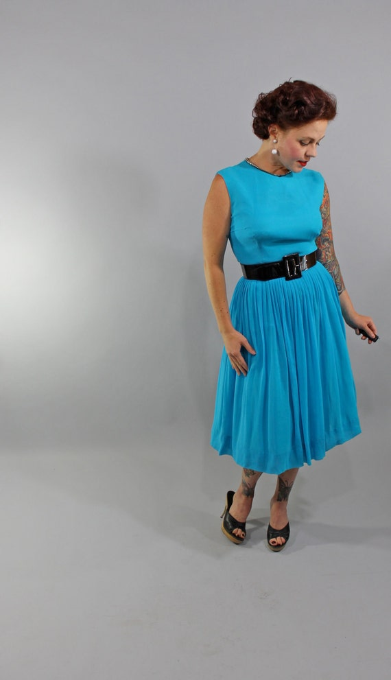 Sale /// 1950s Vintage Dress...BABY BLUE Spring Fashion Electric Turquoise Chiffon Party Dress Metallic Rhinestone Collar Size Medium