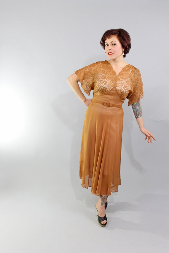 Reserved 1930s Vintage Dress...BELONGS TO ME Nude Tan Sheer Lace and Chiffon Bias Cut Garde Party Dress Size Large