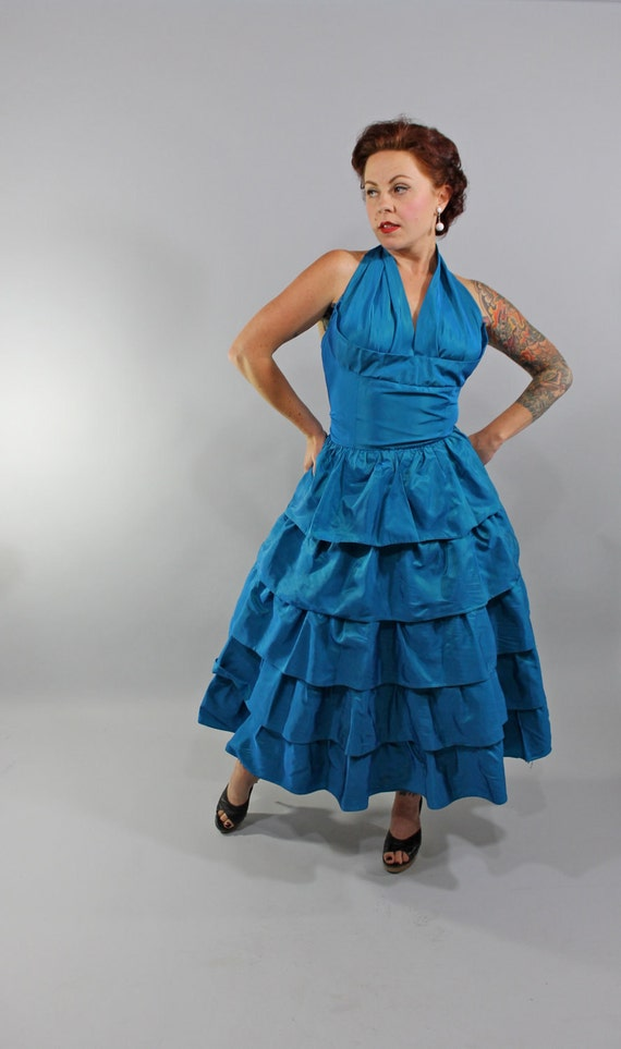 1950s Vintage Dress...Spring Colors Electric Blue Taffeta Shelf Bust Halter Dress with Tiered Skirt Size Medium