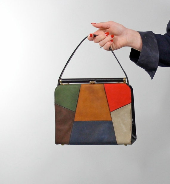 1950s Vintage Purse...Fall Color Block Hand Bag 50s Kelly Purse by Airstep