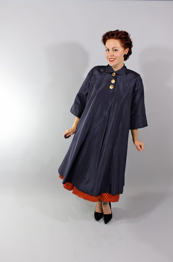 Reserved // 1940s Vintage Coat...Post War Full Length Navy Blue 40s Swing Coat with Three Button Closure Size Small Medium