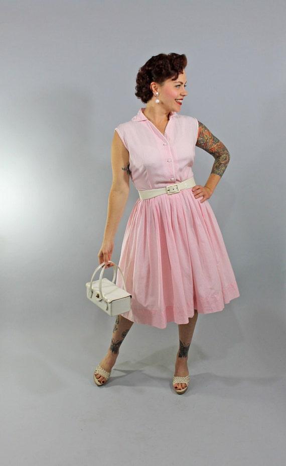 1950s Vintage Dress...Summer Fashion Sleeveless Pink Gingham Cotton Sundress with Pleated Skirt Size Medium
