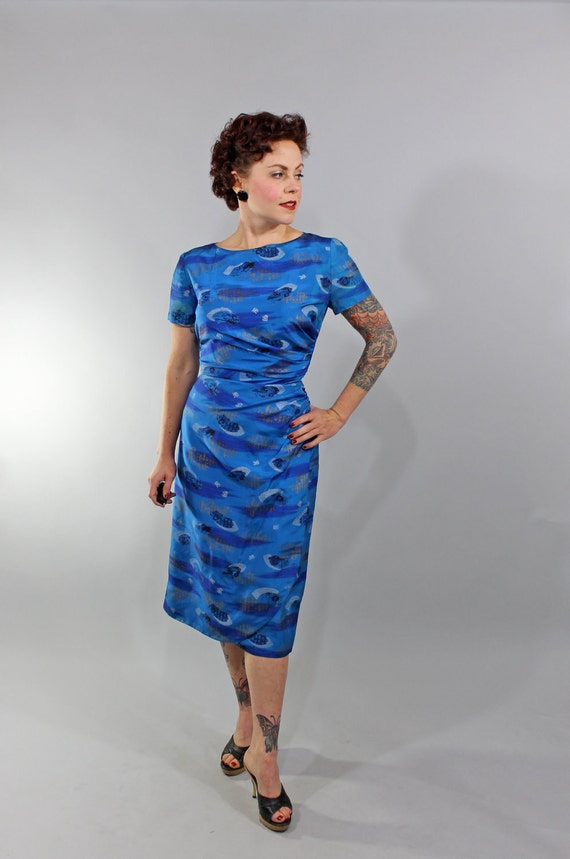 Reserved 1950s Vintage Dress...Spring Fashion Blue Hawaiian Asian Motif Sarong Style Cocktail Dress Bombshell Hourglass Size Small