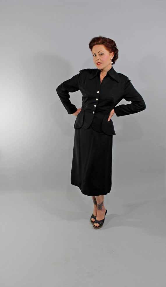 Reserved for Grace Morgan 1950s Vintage Suit...New Look Era Formal Black Faille Fit and Flare Skirt Suit with Rhinestone Buttons Size Small
