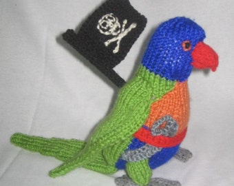 Toy Parrot - with pirate accessories: KNITTING PATTERN – pdf file by automatic download