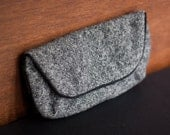 Repurposed wool tweed black snap clutch