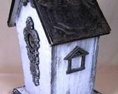 Prim Antique Soft Blue Gray Wood BirdHouse Filigree Designs Tin Roof Black Trim So Shabby Chic Treasury Item