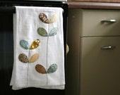 flour sack towel- mustard, aqua, & brown