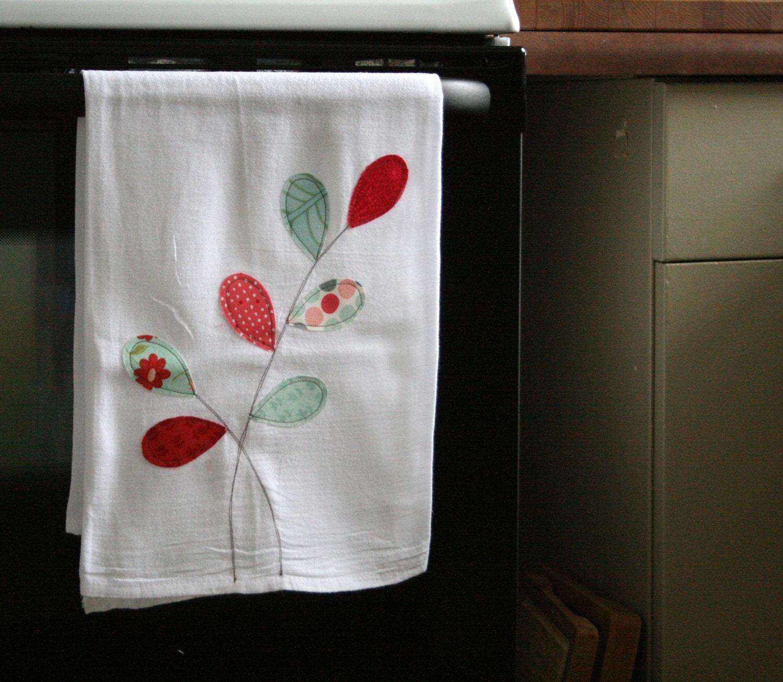 flour sack towel red & aqua