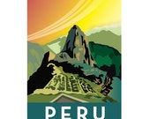 8 x 10 Peru Machu Picchu digital print, retro style illustration