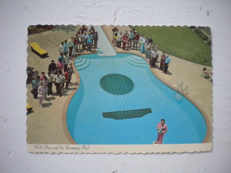 Vintage Postcard Webb Pierce And His Swimming Pool